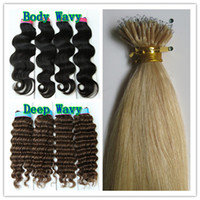 Wholesale 200pcs Beads g s Nano Ring Hair Extensions Straight Deep Body Wavy Black Brown Blonde Mix Ombre Color Indian Remy Human Hair