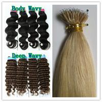 al por mayor nano suena el pelo negro-200pcs Beads + 20 '' 1g * 200s Nano anillo Extensiones de pelo recto de cuerpo negro recto ondulado Brown mezcla Ombre color 100% indio Remy cabello humano
