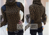 Wholesale Sexy Women Girl s Casual Blouse Shirt Leopard Leather Turtleneck Thick Chunky Slinky Shirt Base Shirt for Autumn Spring Winter