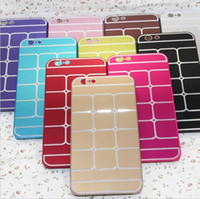 Wholesale iPhone G quot Stylish Brushed Metal Case Electroplating Hard PC Cover Chess Pattern Glossy Surface G Slim Back Shell Cover multi color
