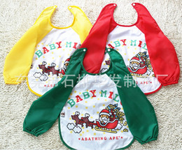 Wholesale 2014 New Design Colorful Green Yellow Red Infant Baby Bibs Burp Cloths with Sleeves Back Eat Dress Layers Waterproof Drawing