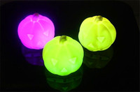 Wholesale Free DHL Bran New Colors Changing Pumpkin LED Night Light Decoration Candle Lamp Nightlight Halloween Novelty great gift