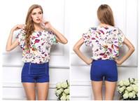 Cheap 2015 New Women's Chiffon Blouse with Floral Dots Fashion Sexy Ladies Blouson Loose Batwing Tops 19 Patterns Options S M L XL XXL 08261 50pcs