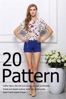 Cheap Hot Women's Ladies Chiffon Blouse with Floral Dots Fashion Sexy Batwing Sleeves Blouson Loose Tops 19 Patterns 20pcs S M L XL XXL 08261