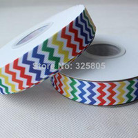 Wholesale 100 polyester quot printed Rainbow Chevron Ribbon with