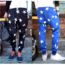 Wholesale Mens Hip Hop Sweat Pants Star Print Harem Dance Jogger Baggy Trousers DH04