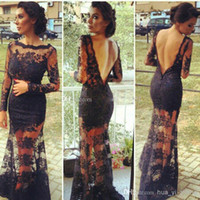 Cheap 2014 Black Lace Backless Evening Gowns With Sheer Long Sleeves Inspired by Kim Kardashian Dresses Vestidos