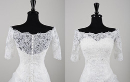 Wholesale 2014 Stunning Beaded Lace Off The Shoulder Jacket With Three Quarter Length Sleeves White Bridal Wrap