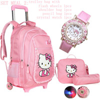 backpack trolley bags - Hello kitty New Primary school students school bag cartoon child backpack travel trolley school bag wheels