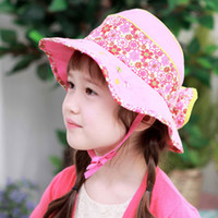 Cheap Children's cartoon hatKorean version of the big flower baby infant child fisherman hat bucket hats Korea 's foreign trade surges child Yiwu