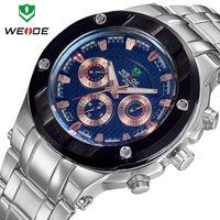 Cheap New 2014 WEIDE men watches fashion quartz watch brand 30m waterproof relogio stainless steel Japan movement male clock