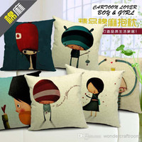 Wholesale x45cm cotton linen cushion cover pillow case top quality cotton line pillow case quot cartoon lovers boy and girl series quot LO