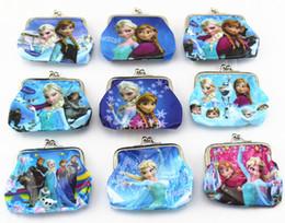 Wholesale New fashion baby girls Frozen Coin Purses kids Snow Queen wallet chilldren princess Elsa Anna money bag party supplies Kids gift bag A0723