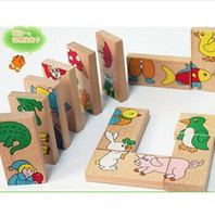Wholesale Animal Domino Puzzles High Quality Educational Toys Wooden Toy Baby Gift