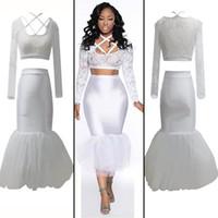 Wholesale New Sexy Dresses Club Wear Stage Wear Lace Gauze Skirt White S M L