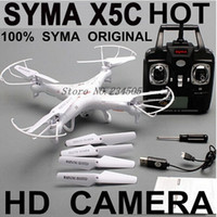 Wholesale Hot Sale SYMA X5C Original G CH Axis Remote Control RC Helicopter Quadcopter Toys Drone Ar Drone With HD Camera Christmas Gift