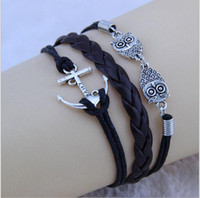 Charm Bracelets ancient rope - Ancient silver bangle bracelet combination anchor rope adjustable braided leather bracelet personalized bracelet owl love anchors