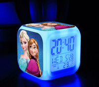 Wholesale 90 STYLE FROZEN colorful alarm clock Snow adventure watches Cartoon Anna Aisha LED Alarm Clock Students alarm