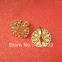 Cheap 25mm New Gold Tone Plated Copper Blank Bases Filigree Flower Tray Caps Adjustable Ring Settings Blank Rings Bulk Wholesale