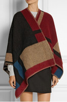 Wholesale 2014 blanket coat Cape blanket shawl wool cashmere checkered color runway woollen blanket coat