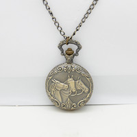 Wholesale 2014 New Hot Selling New Arrival Galloping Horse Designer Brass Pocket Watch Quartz Necklaces NC4271