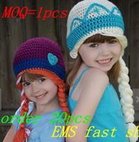 achat en gros de filles crochet chapeaux à vendre-Hot Sale New Custom Made Fashion! crochet mignon ELSA ANNA crochet chapeaux pour les enfants livraison gratuite chapeau fille hiver