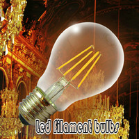 Wholesale 2014 New Design V V V V V Ultra Bright High CRI COB W LED Filament Lights Bulb E27 Global Bulb Lights