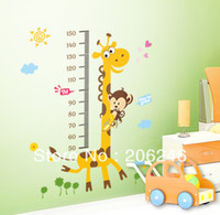 Cheap Wholesale-Free Shipping100*180 cm Large Size Giraffe Baby Kid Height Ruler Measure Chart Wall Sticker Decals