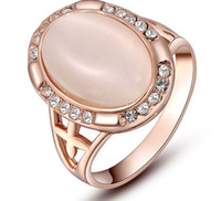 Cheap Size 6 7 8 Jewelry set White Topaz 18K Rose Gold filled Opal Crystal women Wedding Ring for love gift