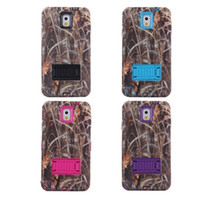 Wholesale 50 High Impact Camo Realtree Straw Grass Hybrid Stand Case for Samsung Note Note Samsung S5 in with stand Rubber Silicone