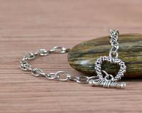 Precio de Broches para los encantos-Pulsera de la cadena del acero inoxidable 20pcs, corchete apto de la cadena del acoplamiento del corchete del amor del corazón OT del amor en la joyería del encanto que hace 8 pulgadas