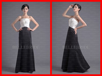 Wholesale Black and White Simple A line Strapless Taffeta Pleated Floor length Long Formal Evening Dresses Prom Dress Gown Gowns Cust