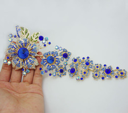 Wholesale Fashion quot Blue Rhinestone Crystal Flower Leaf Gold Plate Brooch Pin Gorgeous Woman Rhinestone Flower Jewelry