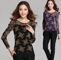 blouse free size - Fashion Elegant Women Rose Floral Lace Tops Sexy Hollow Out Women Lace Blouse Long Sleeve Lady T Shirts Plus Size ecc2135