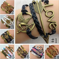 ancient games - 10 style Infinity bracelet Hunger Games Sanga ancient bronze bow Love Harry Potter pearl wings handcuffs multilayer woven Bracelet