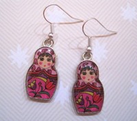 anniversary dolls - Earring CUTE PINK RUSSIAN DOLL GIRL Silver Plated Earrings Fruit Berry Plated pair ab550