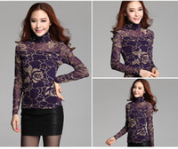 Wholesale 2014 Autumn Winter New Korea Style Women Rose Floral Lace Shirt Tops Fashion Elegant Women Lace Blouses Plus Size ecc2136
