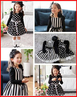 baby skirts patterns - Autumn new stripe one piece dress Baby girls Polka dot pattern Skirt mixed color as White and Black with bowknot Belt Children s dress
