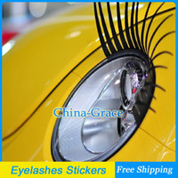 beetle decals - 2Pcs D Charming Black False Eyelashes Fake Eye Lash Stickers Car Headlight Lights Decorations Funny Decal For Beetle