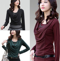 Wholesale 2014 Autumn Winter Fashion Korea Women Long Sleeve Blouses Shirts Elegant Puff Round Neck with Necklace T Shirt Top ecc2138