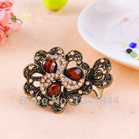 Cheap Coinyoung Hair Accessories wholesale Fashion Carved Hollow Resin Hairpins For Women Rhinestone Hair Clip Jewelry D10412