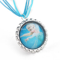 silk cord - Frozen necklace party favors bottle cap necklace Queen Elsa silk ribbon cord necklace Pendant necklaces set of