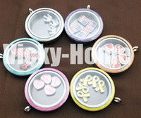 Cheap New arrivals 30mm mix color stainless steel floating glass lockets enamel locket screw living locket