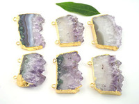 Wholesale New Charming Amethyst Quartz Geode Druzy Gem stone Pendants Connectors for jewelry necklace diy findings