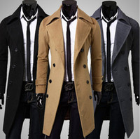 Cheap New 2014 Fashion Woolen Coat Double-Breasted Man Jacket Long Trench Coat Men casacos Winter Clothing Turn Down Collar manteau homme