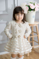 Wholesale New fall spring princess girls dress bow decoration big girl lace dress long sleeve children organza Bubble Skirt beige pink