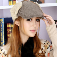 Cheap Hat female winter cashmere yarn plush cap beret thermal protector ear cap forward cap