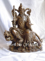 Wholesale China Brass carves dragon VAISHRAVANA on tiger buddha Statue