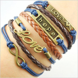 Wholesale Infinity Bracelets Valentine s Day gift infinite combination of manual preparation love hope bracelet bracelet Best Chosen Gift