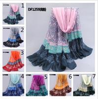 Wholesale fashion women long soft Voile hijab muslim scarf tribal aztec Shawl